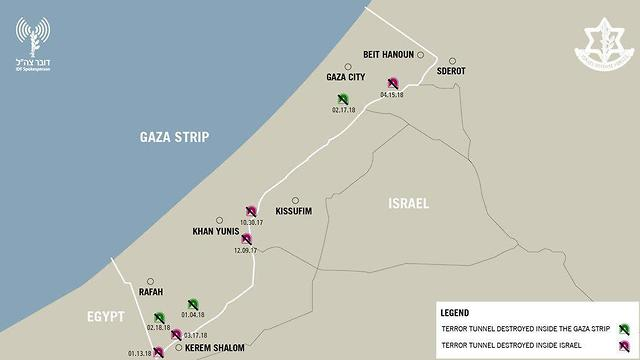 Map of previously discovered tunnels (Photo: IDF Spokesperson's Unit)