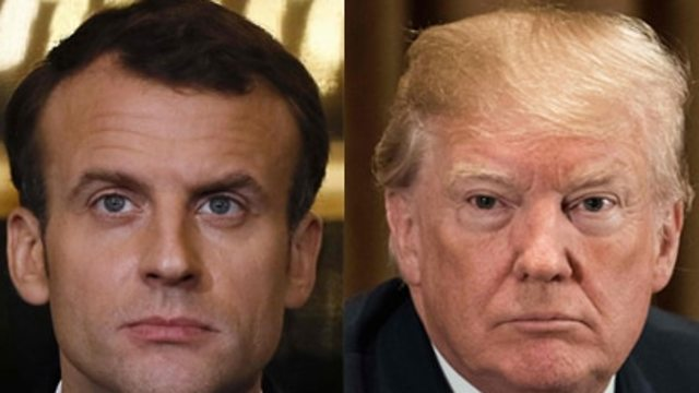 President Macron (L) will meet President Trump at the WH on Tuesday to discuss the deal (Photo: AFP)