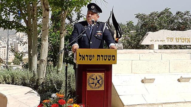 Police Commissioner Roni Alsheikh at a ceremony for officers killed in the line of duty (Photo: Eli Mandelbaum)