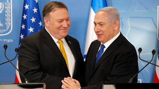 US Sect. of State Pompeo (L) and PM Netanyahu during latter's visit to Israel. Pompeo let US's European allies know deal was 'over' (Photo: EPA)