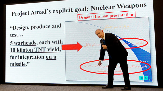 Prime Minister Netanyahu revealing documents from Iran's nuclear archive (Photo: AP)