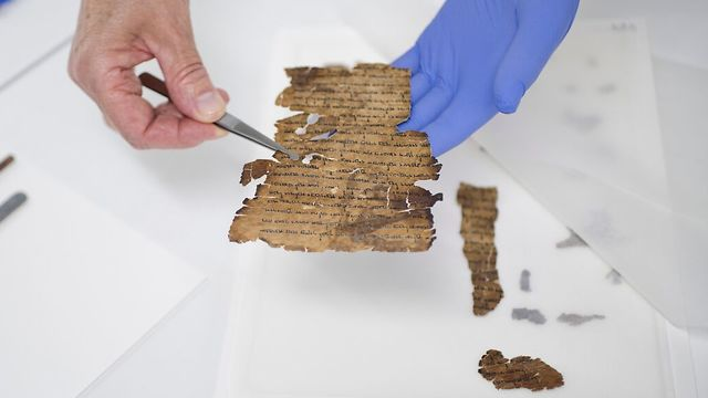 Preservation work on the Dead Sea Scrolls at IAA's laboratories (Photo: Shay Halevi, Israel Antiquities Authority)
