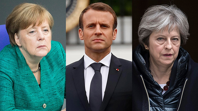 L-R: Germany's Merkel, France's Macron and Britain's May voiced their commitment to the nuclear deal (Photo: EPA, Reuters)