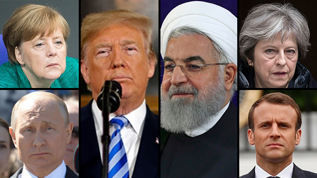 L to R: leaders of Germany, Russia, US, Iran, Britain and France (Photo: AP, AFP, EPA, GPO)