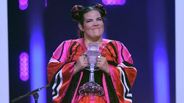 Israeli singer Neta Barzilai after winning the Eurovision (Photo: AFP)