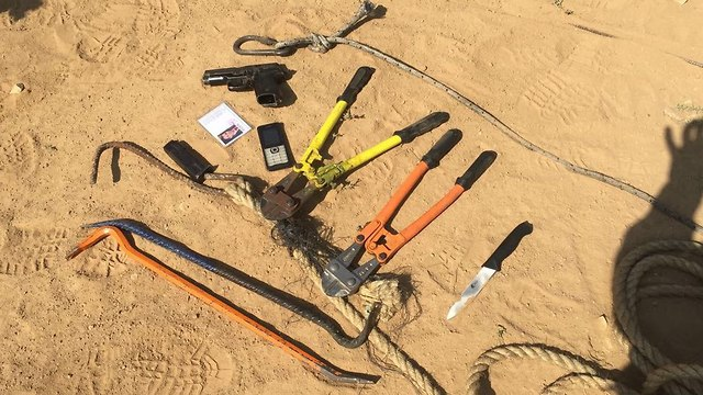 Some of the weapons and tools seized from the slain militants (Photo: IDF Spokesperson's Unit)