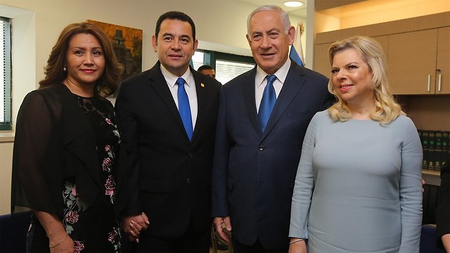 Prime Minister Netanyahu and his wife Sara, right, with Guatemala's President Jimmy Morales and his wife (Photo: Marc Israel Sellem)