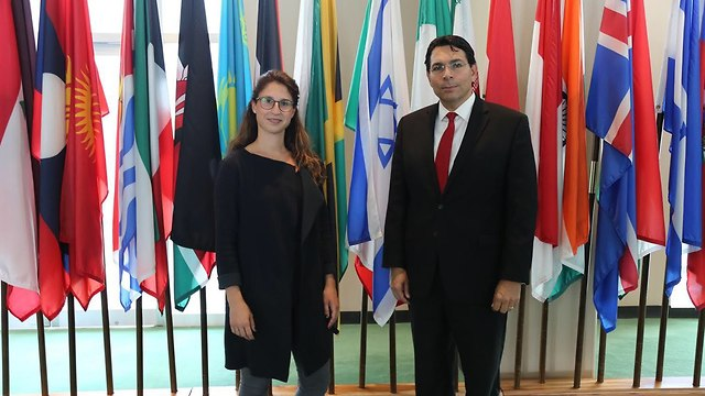 Knoll's granddaughter Keren Brosh (L) was invited to speak at the UN by Israel's Ambassador Danon (Photo: Israeli delegation to UN)