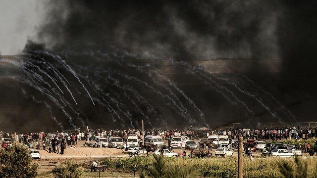 Friday's protest on the Gaza border (Photo: AFP)