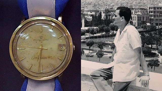 Eli Cohen, right, and his recovered wristwatch (Photo: Amos Ben Gershom/GPO)