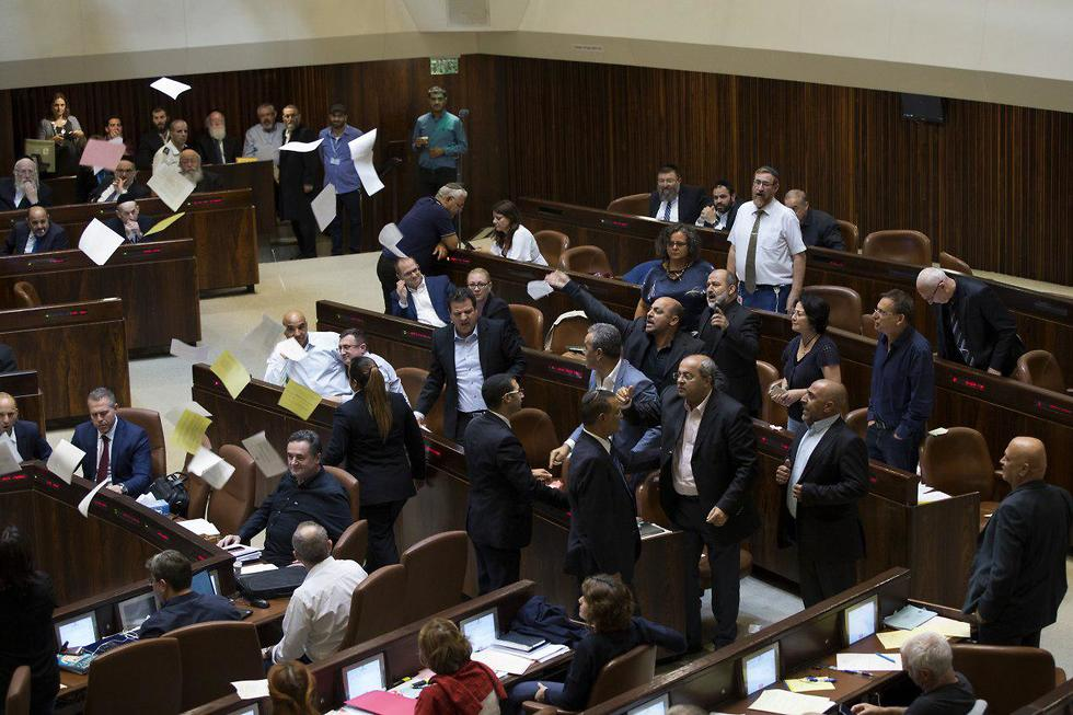 Arab MKs protest Nationality Law in the Knesset (צילום: עמית שאבי)