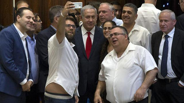 Coalition celebrates passing of Nationality Law with a selfie (Photo: Amit Shaabi)