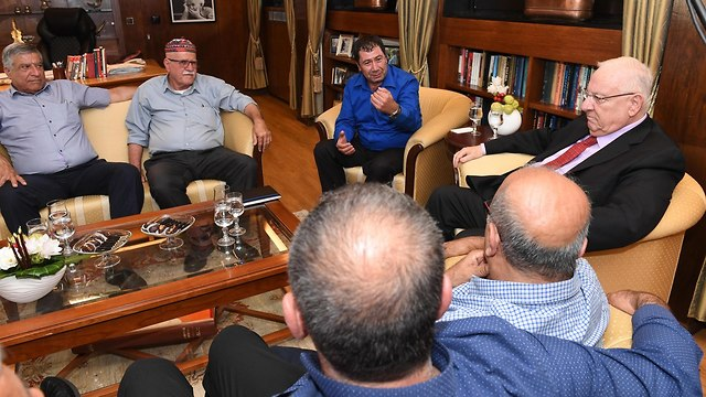 President Rivlin meets with Druze leaders (Photo: Mark Neiman/GPO)