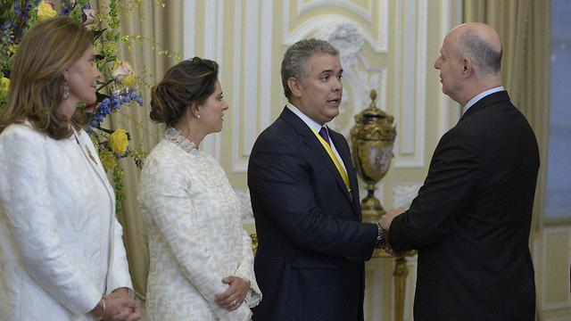 Minister Tzachi Hanegbi attend the swearing in ceremony of new Colombia President Iván Duque