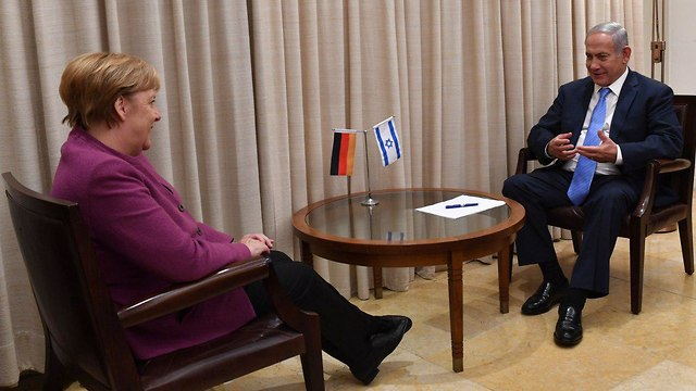 Merkel and Netanyahu meet at the Prime Minister's Residence (Photo: GPO)