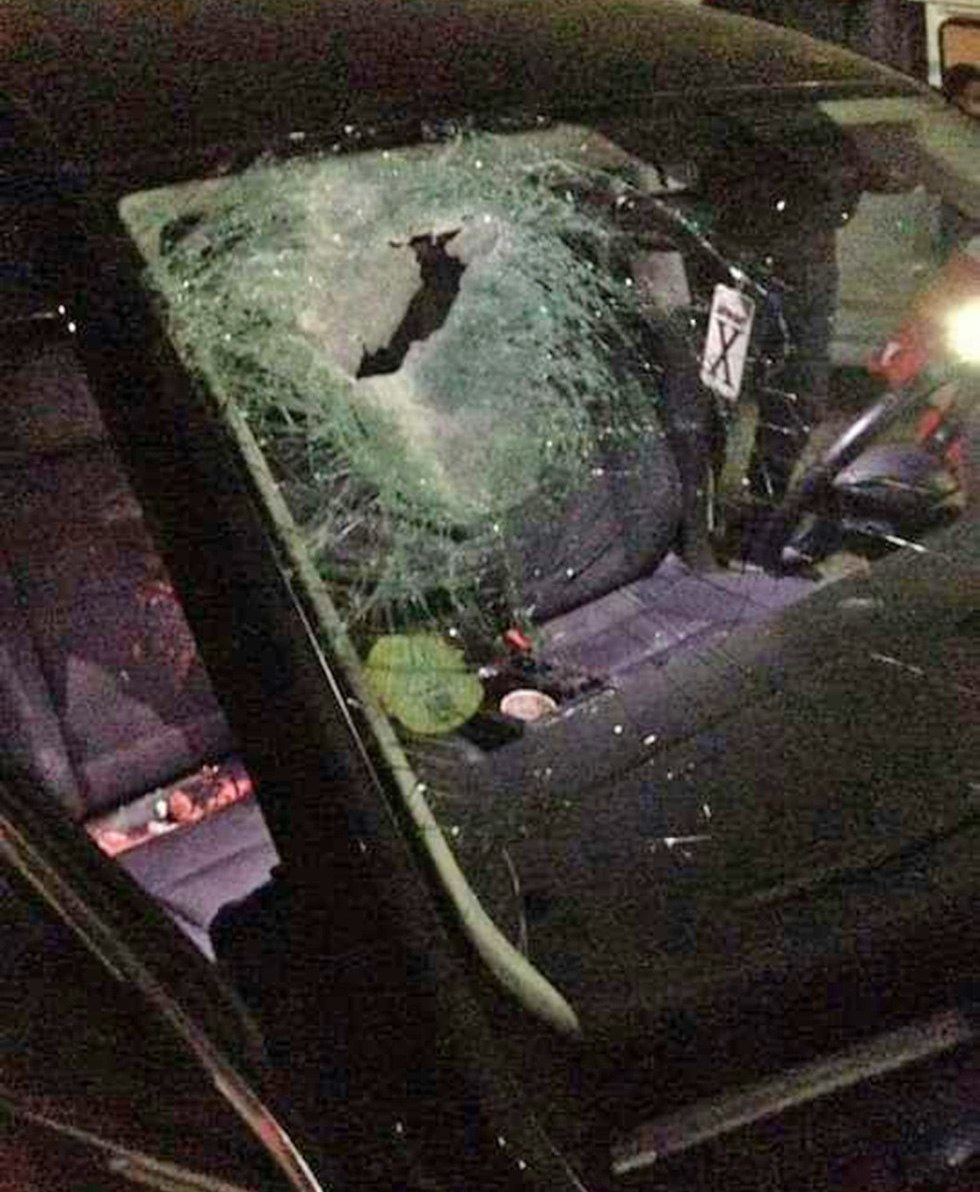 The car's shattered windshield