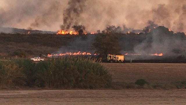 Fire in the Gaza border region (Photo: Assaf Gvaram)