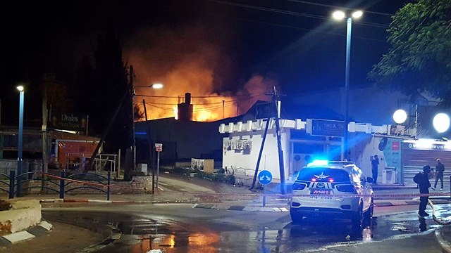 A fire resulted from a rocket hitting a building in Sderot