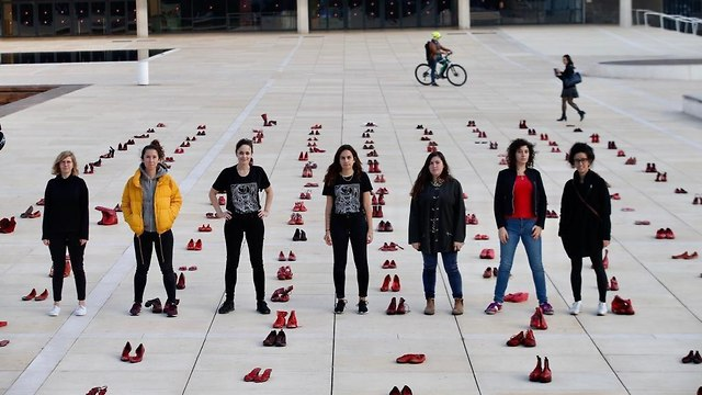 Red shoes spread across Habima Square in Tel Aviv