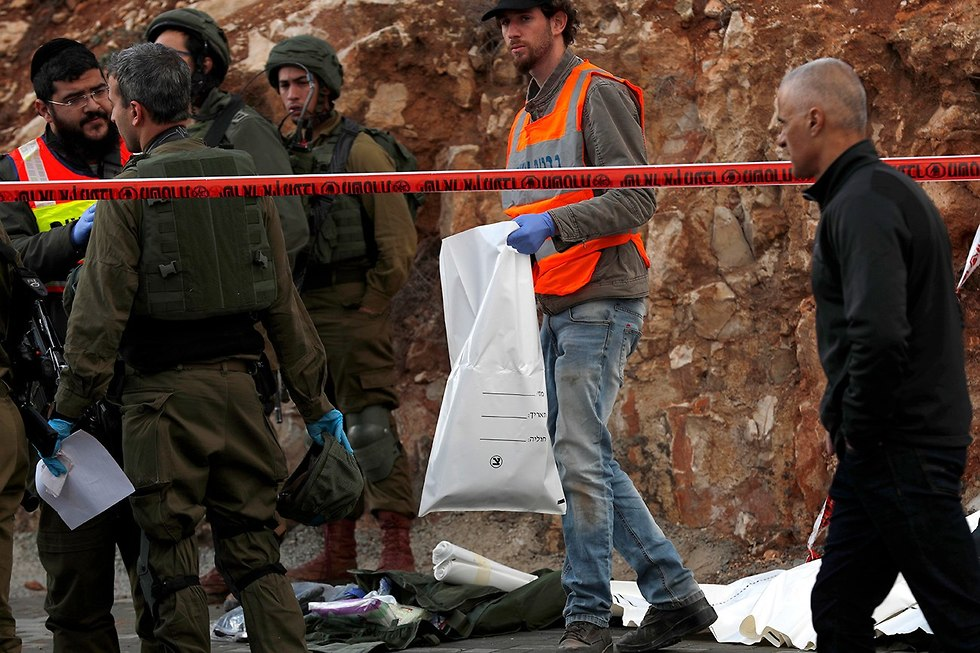 The scene of an attack in the West Bank that killed two Netzah Yehuda soldiers. (Photo: EPA) (צילום: EPA)