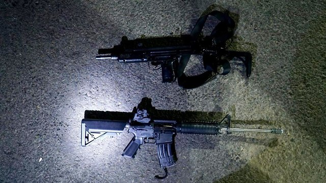 Rifles seized by the IDF from two Palestinians arrested in Hebron