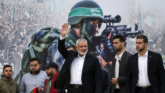 Hamas leader Ismail Haniyeh during parade marking terror group's establishment (Photo: AFP)