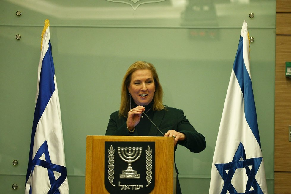 Tzipi Livni at a press conference after Gabbay's announcement, January 1, 2019 (Photo: Ohad Zwigenberg)