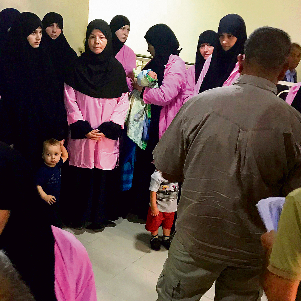 Russian women accused of joining ISIS during their trial in Baghdad