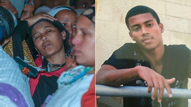 Yehuda Biadga, who was shot by the police on Friday, right; Yehuda's mother during the funeral, left (Photo: Yariv Katz)