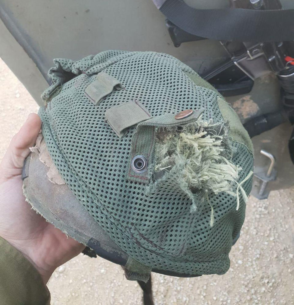 Wounded soldier's helmet