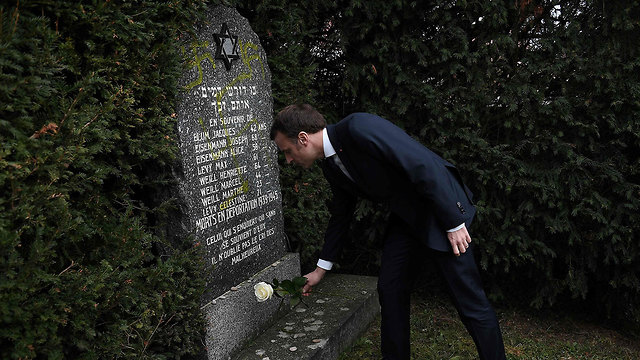 Emanuel Macron visits a desecrated Jewish cemetery in Alsace (Photo: AFP) (Photo: AFP)