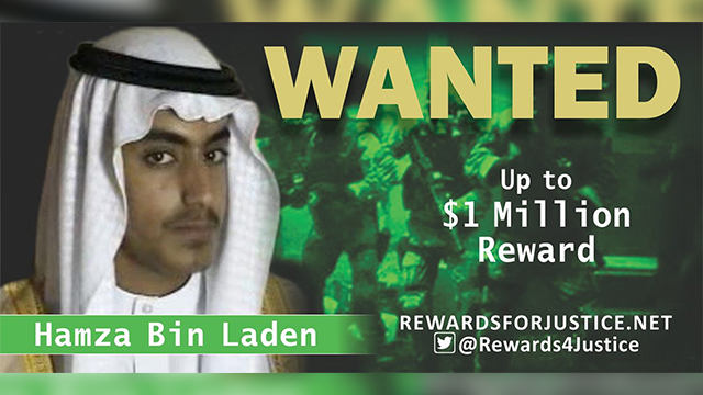The U.S. government in February said it was offering $1 million for help tracking down Hamza bin Laden
