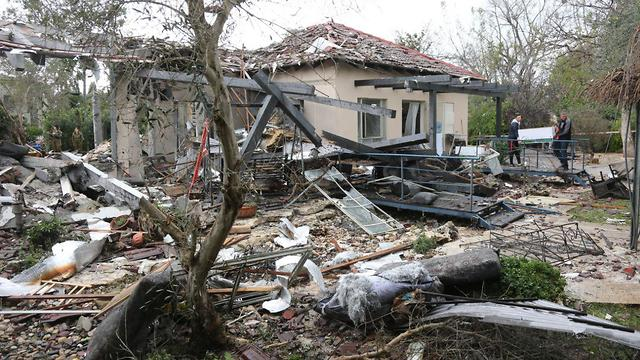 Moshav Mishmeret home destroyed in a Gaza rocket strike (Photo: Moti Kimchi)