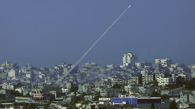 A rocket being launched from Gaza into Israel