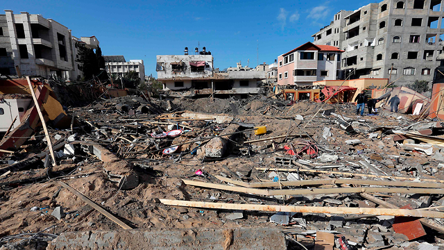 The ruins of Hamas leader Ismail Haniyeh's office in Gaza City after an IDF (Photo: AFP)  (Photo: AFP)