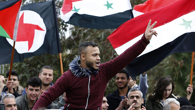 Protests in Quneitra againt the American recognition of Israeli rule over the Golan Heights  (Photo: AP)
