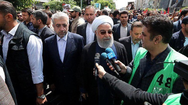Iran's President Hassan Rouhani at Al-Quds Day protest in Tehran