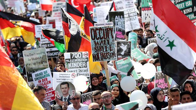 An anti-Israel protest in Berlin to mark Al-Quds Day on June 1, 2019 (Photo: EPA)  (Photo: EPA)