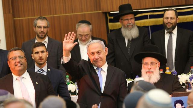 Netanyahu with ultra-Orthodox politicians (Photo: Alex Kolomoisky)