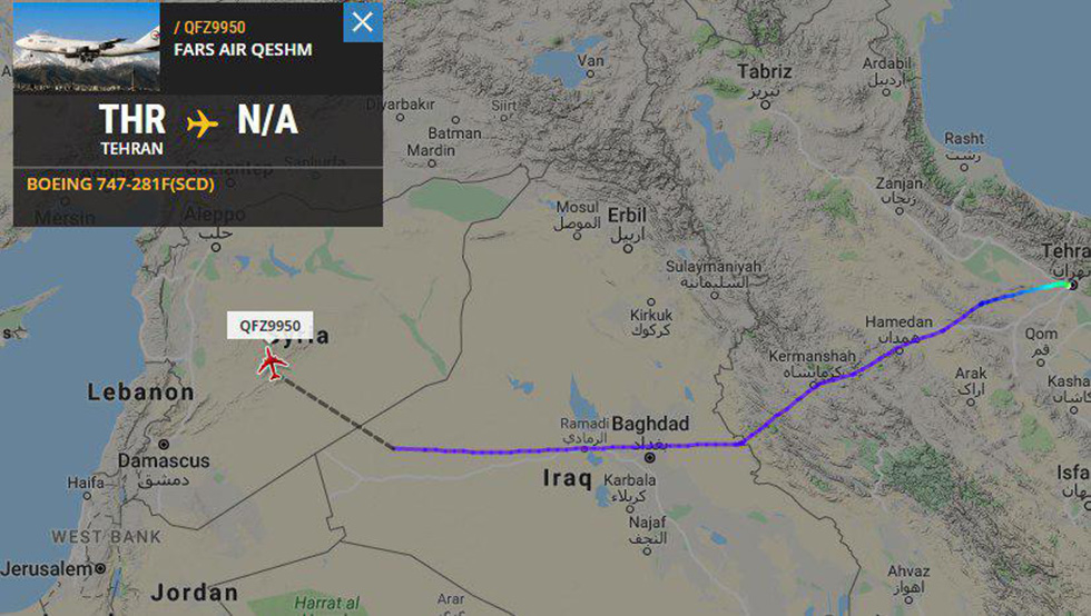 The route of Boeing 747 belonging to Iranian airline Fars Air Qeshm