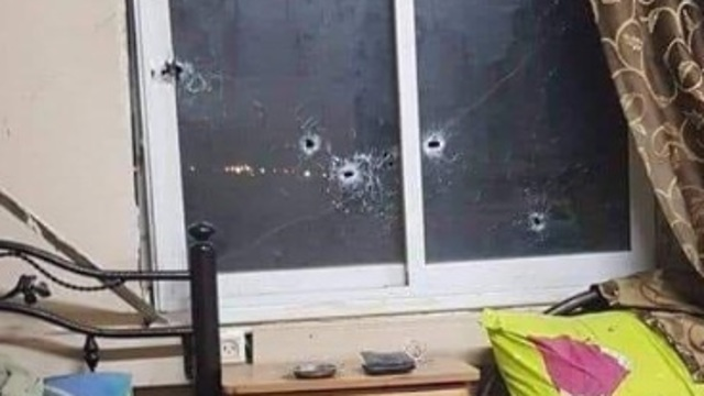 Bullet holes in Palestinian Security Services HQ