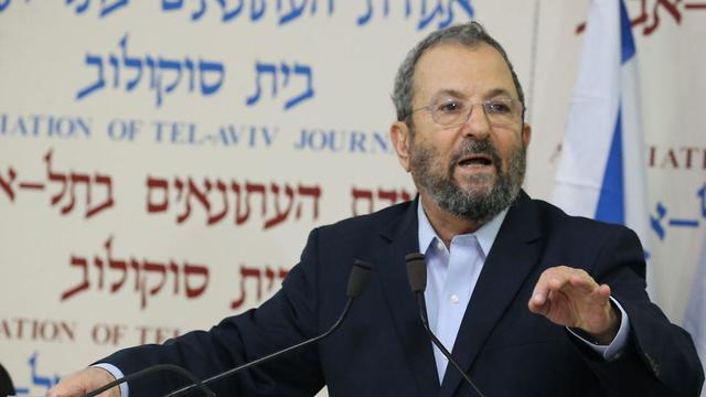 Ehud Barak at the press conference (Photo: Motti Kimchi)