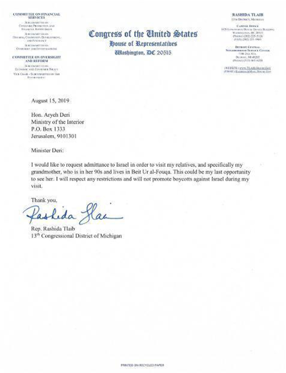 Tlaib's letter to Interior Minister Deri