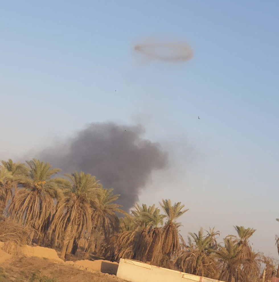 Smoke above the site attacked in Iraq
