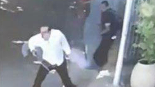 Footage of the incident showing the Palestinian, right, and his victim, left