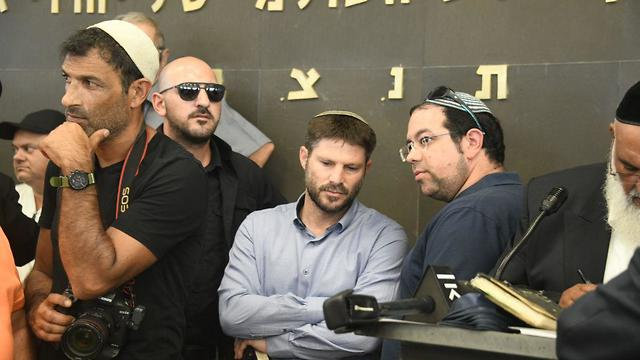 Minister Bezalel Smotrich at the funeral for Rina Shnerb  (Photo: Yair Sagi)