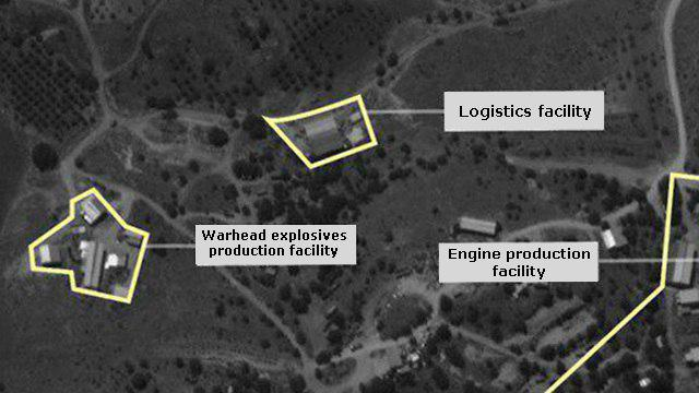 Satellite images presented by IDF showing Hezbollah factory in Lebanon