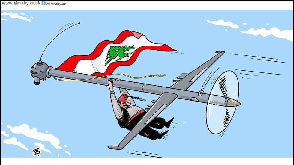 A cartoon in the Lebanese media depicting Lebanon being carried along by a Hezbollah drone