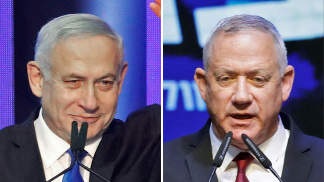 Benjamin Netanyahu, left, and Benny Gantz at their respective campaign headquarters on Election Day (Photo: AFP)