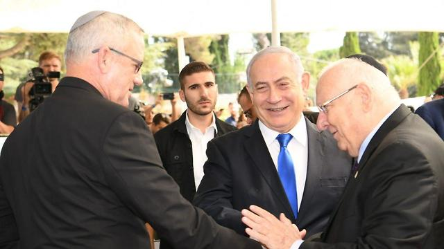 Benny Gantz, Benjamin Netanyahu and Reuven Rivlin at a memorial service for Shimon Peres in Jerusalem on Thursday on the third anniversary of his death (Photo: GPO)